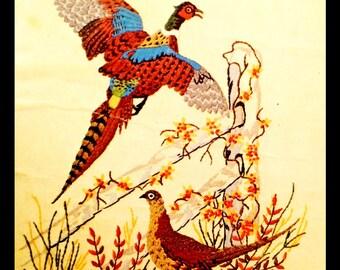 1970's Wild Pheasants crewel kit