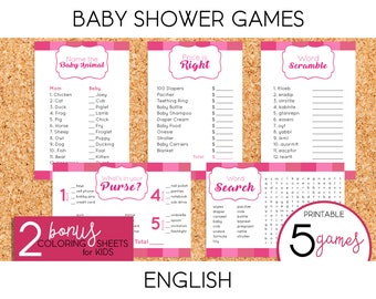 Girl Baby Shower Games - PRINTABLE (English)
