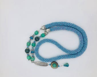 Blue Green Beaded Feather Necklace