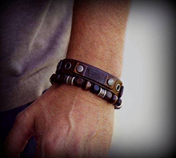Vintage leather bracelet,Leather cuff bracelet, Men's Leather Bracelet, Women's Leather Bracelet