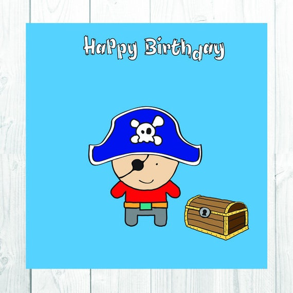 Items Similar To Pirate Birthday Card, Boy's Birthday Party, Greetings Cards For Kids, Cute