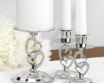 Wedding Candle Stand/ Sparkling Love Candle Stand Set-Unity Candle Stand/ Unity Candle holders/ Candle Stands/  Silver Candle stands