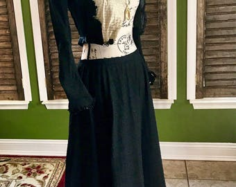 Antique Victorian mourning/steampunk two-piece dress