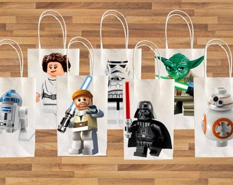 Star Wars R2D2, Leiah, Yoda, Stormtrooper, Darth Vader, Luke, R2D2, BB8 Party Favor Bag Printables, Star Wars Party Favor