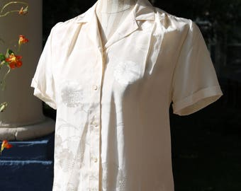 80s/90s Ivory Silk Chinese Blouse
