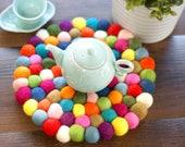 "Large felt ball trivet - 8"" festive colors coaster / hot pad / teapot pad / 100% wool"