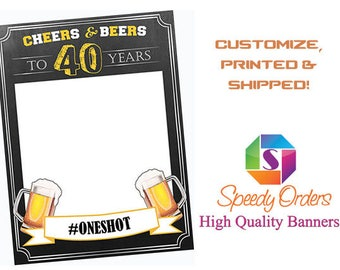 Personalize Cheers and beers birthday photo booth prop frame , Cheers Banner, Cheers Sign , Beer party, Chalkboard Photo booth ;1601118