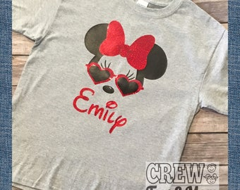 Cute Cool Shades Minnie Disney Vacation Shirt Any Color SunglassesT-shirt Holiday Girl's Tee!