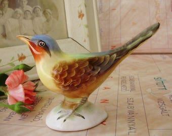Vintage Hungarian porcelain bird figurine,handpainted,signed