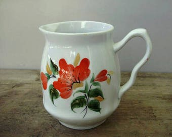 Lovely Vintage Russian porcelain milkpot with flower pattern,handpainted,stamped