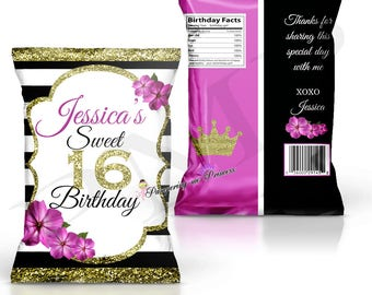 Sweet 16 Chip Bags, Treat Bags, Favor Bags, Custom Wedding Bags, Party Favors, Chip Bags, Candy Bags, Sweet 16 Party Favors