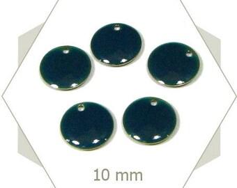 6 sequins blue petrol SEC11 charms 10 mm