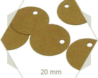 50 round tags in kraft cardstock DV47 20 mm