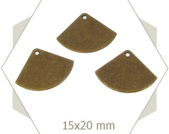8 charms bronze smooth fans, BB224