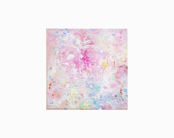 You Through My Eyes: 6x6 inch, Abstract, Original Painting, Stretched Canvas, Wall Art, Modern Art Abstract, Painting on Canvas, Pink Art