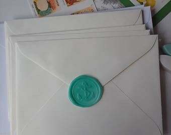 "Ship Anchor Navy Beach wedding party invitation self adhesive wax seal peel sticker 1"" 5 pieces"