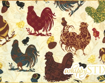 Rooster Fabric By the Yard, Sunrise Silhouette Jo Moulton Wilmington Prints 26067-492, BTY Farm House Cotton Quilting Fabric, Farm Animals