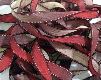 "5PC. RED VELVET 42"" hand dyed wrist wrap bracelet silk ribbon//Yoga wrist wrap bracelet ribbons//Hand dyed Boho Silk wrist wrap ribbon"
