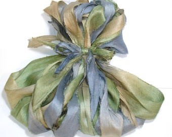 5 & 10YD. MORNING DEW Sari Silk Bundle//Dyed Silk Sari Ribbon Bundle//Sari Tassels,Sari Wall Decor,Sari Fiber Jewelry,Sari Tapestry
