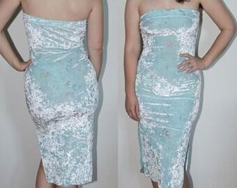 Pastel Crushed Velvet Dreamy Tube Top Midi Dress with Side Slits
