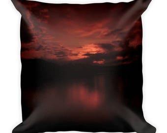 Square Pillow, Red Sunset, Foys Lake, Kalispell Montana, Decorative Pillow, Red Pillow, Sunset Pillow, Red Decor, Nature Decor, Nature Photo