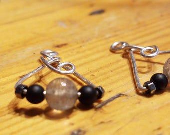 Labradorite and Onyx Earrings