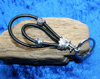 Leather DRAGON Keyring, with 30mm silver key ring