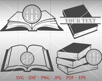 Book SVG, Book Monogram Frame with Circle Font, Library Clipart Vector Silhouette Cricut Cut File Commercial Use