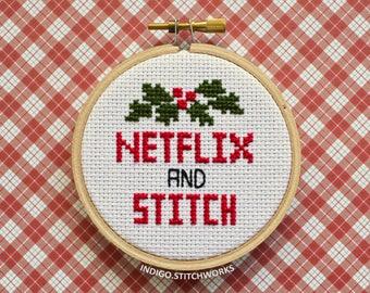 """Netflix and Stitch - 3"""" Hooped Cross Stitch"""