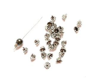 20 bead caps flower antique silver, diameter beads: 8mm - 12 mm