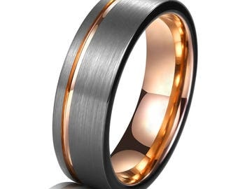 tungsten ring rose gold wedding band ring 8mm tungsten carbide 18k tungsten ring man wedding band - Man Wedding Ring