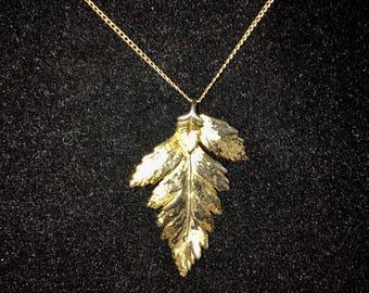 Vintage Gold Dipped Leaf Pendant