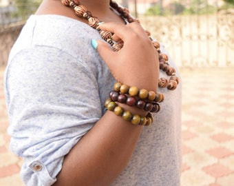 Unisex wooden Bracelets | African Ethnic Jewelry | Minimalist | Wood Beads | handmade in Cameroon and Senegal