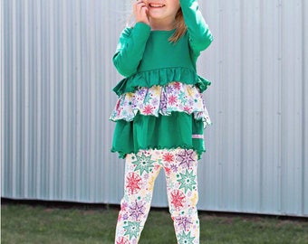 Personalized Emerald Ruffle Top & Leggings Set,Christmas,