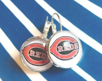 Handmade Cincinnati Reds cabochon earrings- 16mm