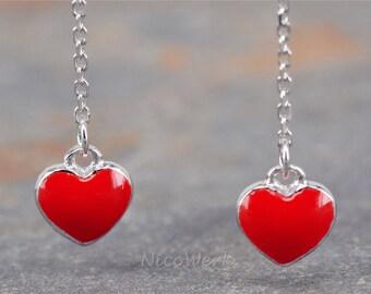 Silver Heart Earrings women's earrings ear jewelry 925 jewelry gift SOR167