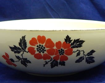 Vintage Hall's Red Poppy Salad Serving Bowl - Superior Quality Kitchenware China - Made in USA with HSQK Mark  circa 1940's
