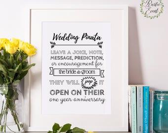 Wedding Pinata Sign / Pinata Favor Sign / Custom Wedding Signs / Printable Sign / Printable Wedding Sign / INSTANT DOWNLOAD 4x6 5x7 8x10