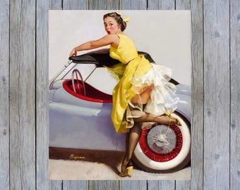 Cover Up - 1955 Gil Elvgren vintage pin up art poster print