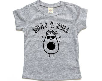Guac and Roll Tee, Avocado Toddler and Kids T-shirt, Guacamole Shirt, Funny Baby and Kids Clothes, Food Pun, Baby Shower Present