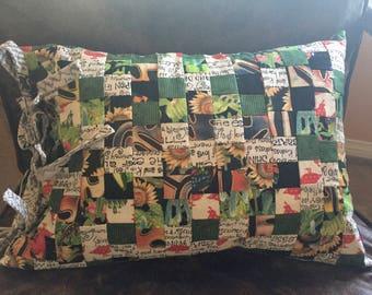 Patchwork -Newsprint Fabric Pillow .  12 x 16/insert