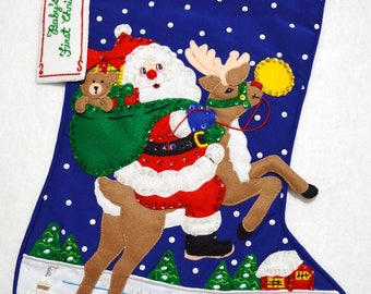 "Hand made Santa's Coming to Town Bucilla felt appliqué completed  21"" baby's first Christmas stocking~ready to hang"