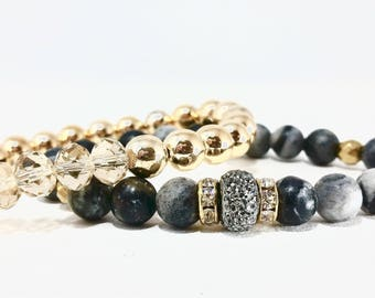 Gunmetal Bling~ Handmade Beaded Stretch Bracelet~ Genuine Spider Web Jasper & Pave Luster~ Gold Silver Mix~ Adjustable~ For Men or Women