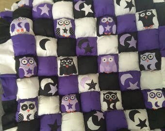 Owl quilt,bubble quilt,stars and Moon baby quilt,baby bedding,crib set,throw  blanket,crib quilt,