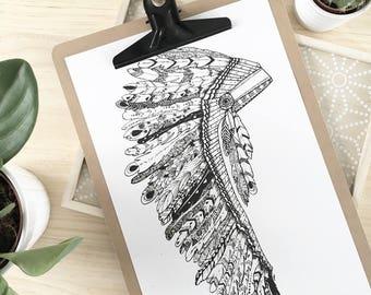 Artprint Indian headdress black and white 20 x 30