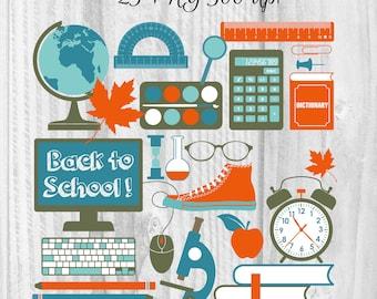 25 School elements clipart Back to school clipart Digital school element School graphics Studies clipart Back to school art Learning clipart