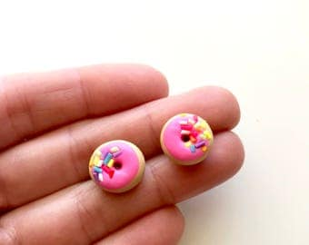 Pink Donut with Sprinkles - Earrings with Stainless Steel Studs - International Classic Treat you can wear!