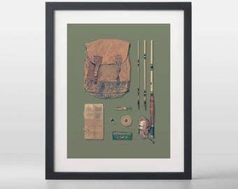 Vintage Fishing Kit Art Print