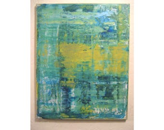 Original Small Abstract Painting # 182 Expressionism Minimalist Green Blue Yellow Canvas Gallery Wall Art 16x20 Modern Contemporary Artwork