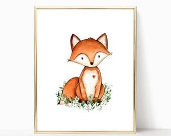 Fox Nursery Art. Printable Fox Art. Woodland Fox Nursery Print. 8x10 Watercolor Fox Print. Forest Nursery Print. Fox Nursery Printable. Fox.